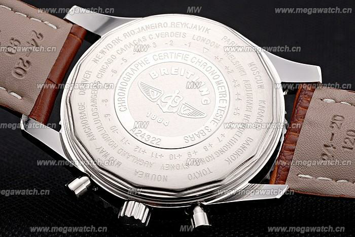 Breitling Navitimer World White Dial Brown Leather Bracelet Replica