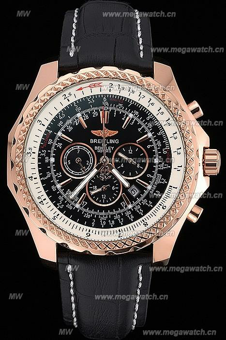 Gold Case Black Dial 622232 Fake Breitling Bentley watch