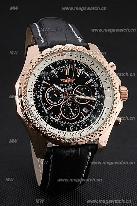Gold Case Black Dial 622232 Fake Breitling Bentley watch