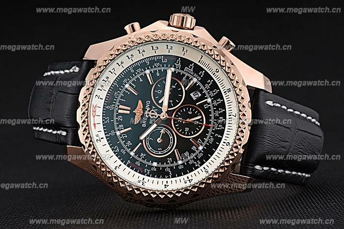 Gold Case Black Dial Black Leather Bracelet 622232 Fake Breitling Bentley watch