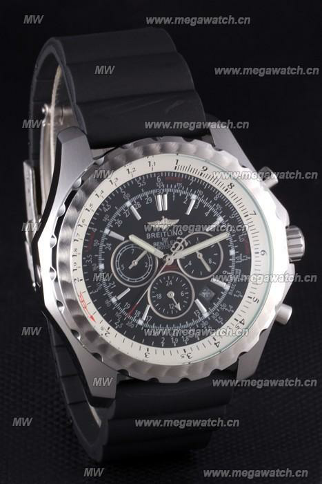 Black Rubber Band Fake Breitling Bentley watch